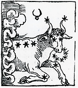 Zodiac sign of Taurus .  From 'Sphaera mundi', Strasburg, 1539