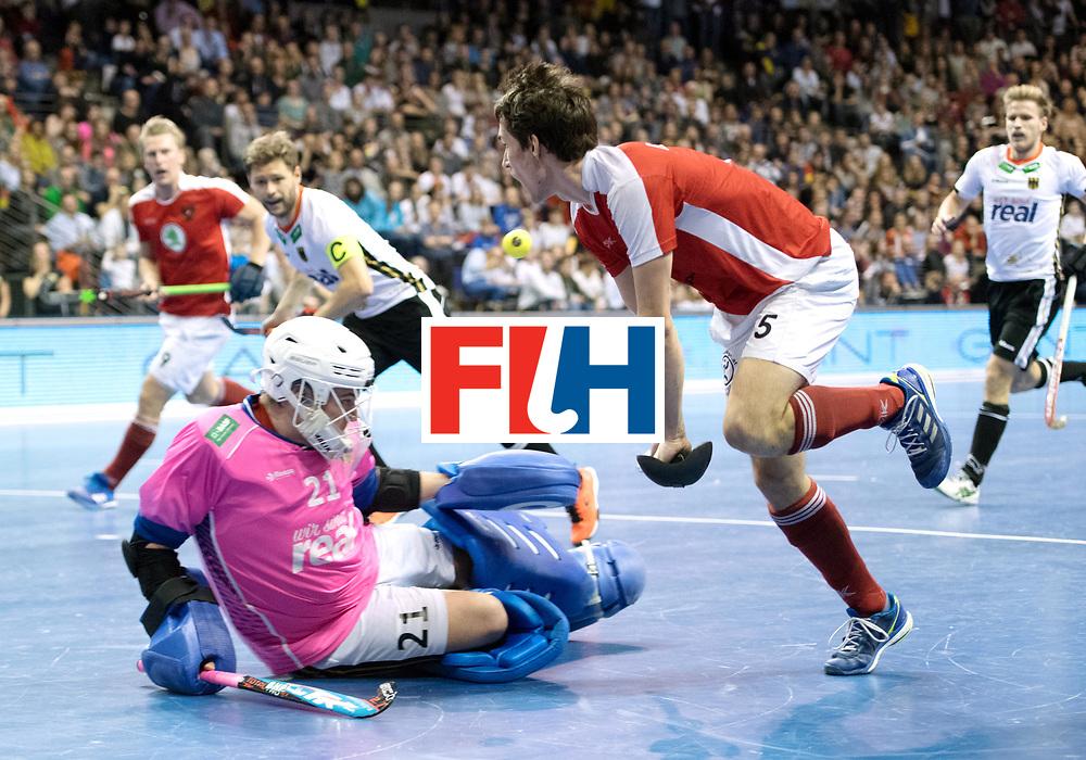 BERLIN - Indoor Hockey World Cup<br /> Final: Germany - Austria<br /> foto: Sebastian Eitenberger and Tobias Walter (GK)  <br /> WORLDSPORTPICS COPYRIGHT FRANK UIJLENBROEK