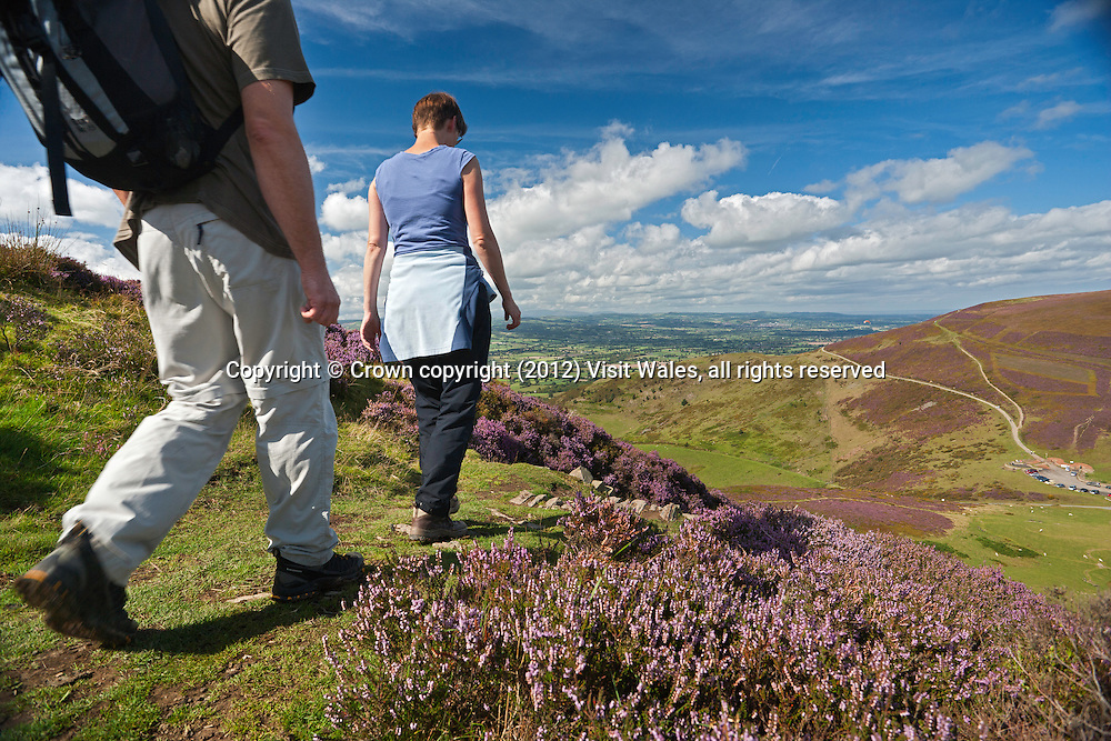 Couple walking on Moel Fenlli<br /> Clwydian Range AONB<br /> Denbighshire<br /> North East<br /> Walking<br /> Activities and Sports