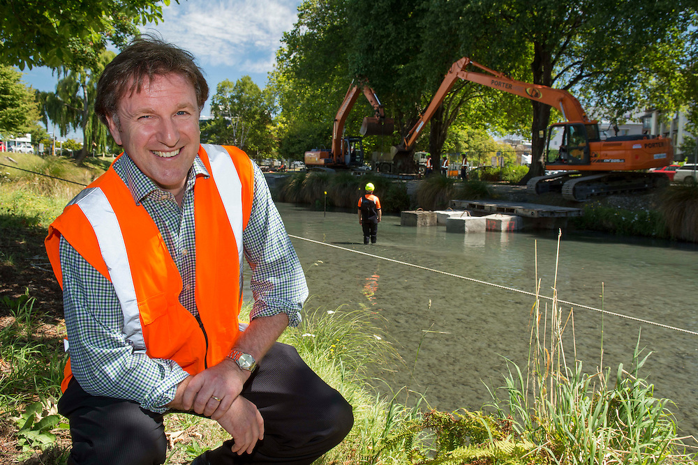 Rob Kerr, development director of the Avon River Precinct, by the river near Oxford Terrace where dredging work to clear silt and restore life to the waters is progressing, Christchurch, New Zealand, Tuesday, 4 February, 2014.  <br /> Credit:SNPA / David Alexander