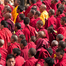 Buddhist monks gather in the Nubra Valley to hear the Dalai Lama speak.