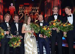 17-12-2013 ALGEMEEN: SPORTGALA NOC NSF 2013: AMSTERDAM<br /> In de Amsterdamse RAI vindt het traditionele NOC NSF Sportgala weer plaats.(L-R) Winnaars Epke Zonderland, Adri van der Poel, vader van talent van het jaar Mathieu van der Poel, Marlou van Rhijn, Gerard Kemkers, Robert Meeuwsen en Alexander Brouwer met hun trofeeen tijdens het NOC*NSF sportgala 2013<br /> ©2013-FotoHoogendoorn.nl