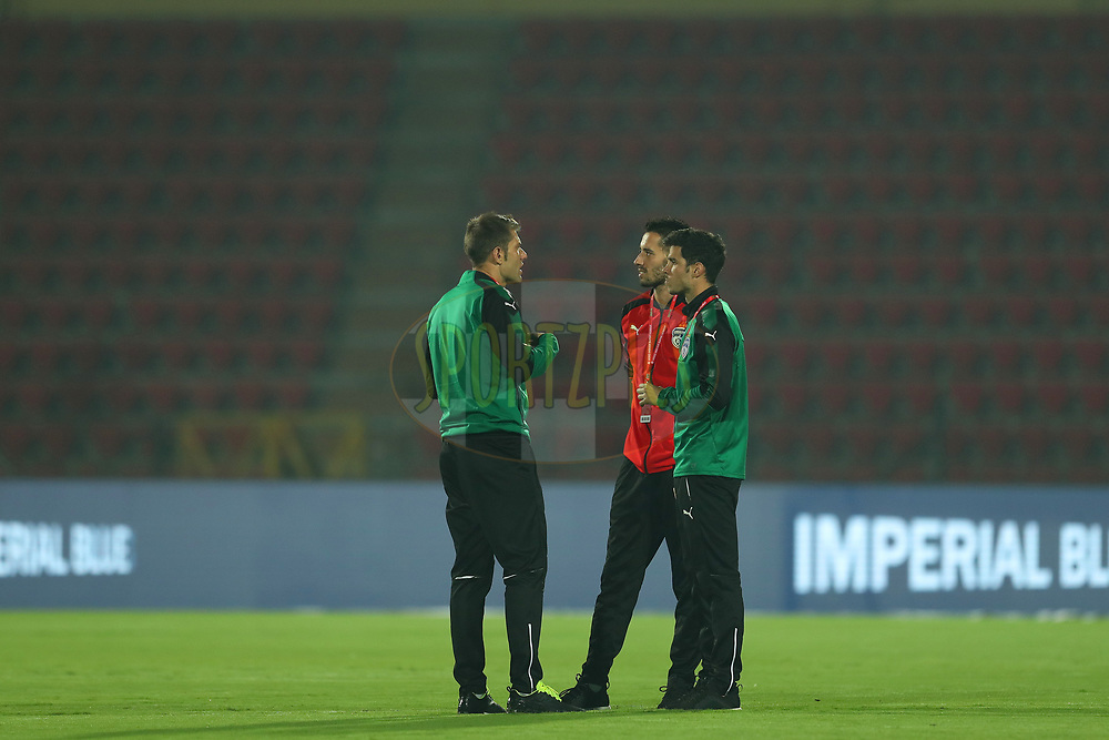 Players chat before the match during match 19 of the Hero Indian Super League between NorthEast United FC and Bengaluru FC held at the Indira Gandhi Athletic Stadium, Guwahati India on the 8th December 2017<br /> <br /> Photo by: Ron Gaunt / ISL / SPORTZPICS