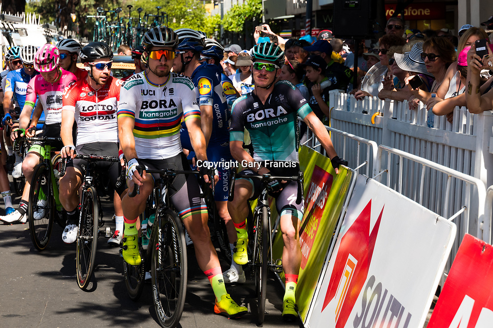 Peter Sagan (L) and Jay McCarthy (R) wait at the start of Stage 4, Norwood to Uraidla, of the Tour Down Under, Australia on the 19 of January 2018 ( Credit Image: © Gary Francis / ZUMA WIRE SERVICE )
