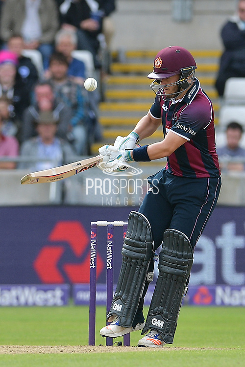 Ben Duckett scoops Stuart Broad (not shown) for four during the NatWest T20 Finals Day 2016 match between Nottinghamshire County Cricket Club and Northamptonshire County Cricket Club at Edgbaston, Birmingham, United Kingdom on 20 August 2016. Photo by Simon Trafford.