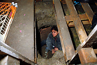 Eco warrior hiding  in tunnel underground ready for eviction  at site at Crystal Palace South London protesting the proposed construction of multi-million pound Leisure Centre. 2000