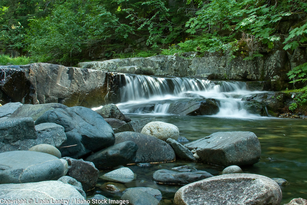 A series of small cascades above Char Falls in the Kaniksu National Forest, Bonner County, Idaho, USA PLEASE CONTACT US FOR DIGITAL DOWNLOAD AND PRICING.