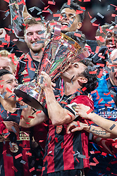December 8, 2018 - Atlanta, Georgia, United States - Atlanta United defender MICHAEL PARKHURST (3) kisses the MLS Cup during a post game team celebration at Mercedes-Benz Stadium in Atlanta, Georgia.  Atlanta United defeats Portland Timbers 2-0 (Credit Image: © Mark Smith/ZUMA Wire)