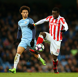 Mame Biram Diouf of Stoke City and Leroy Sane of Manchester City - Mandatory by-line: Matt McNulty/JMP - 08/03/2017 - FOOTBALL - Etihad Stadium - Manchester, England - Manchester City v Stoke City - Premier League