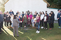 28/03/2016 Local Choir pictured at Pearse's Cottage, Teach an Phiarsaigh, in Rosmuc in Connemara during a special broadcast of RT&Eacute; Raidi&oacute; na Gaeltachta programme Adhmhaidin on Easter Monday 28 March 2016.  <br /> <br /> Patrick Pearse used the cottage as a summer house, and also as summer school for his pupils from St Enda&rsquo;s school in Dublin.  He was inspired by the people and the culture of the area, and it is said that he composed the graveside oration he gave at O&rsquo;Donovan Rossa&rsquo;s funeral in 1915 there.<br /> <br /> The broadcast was to commemorate the centenary of the Easter Rising, and also marked 30 years on air for the programme.  <br /> Photo:Andrew Downes, xposure.