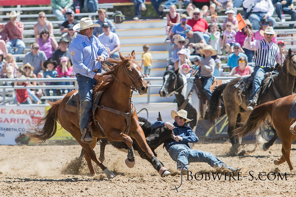 Steer wrestler Brady Buum makes his run in the first performance of the Elizabeth Stampede on Saturday, June 2, 2018.