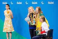 SilverJessica Long of USA, Gold Lakeisha Patterson of Australia and Bronze Stephanie Millward of Great Britain celebrate at medal ceremony after the Women's 400m Freestyle S8 Final  on Day One of the Rio Paralympics  in Rio de Janeiro, Brazil<br /> Picture by EXPA Pictures/Focus Images Ltd 07814482222<br /> 08/09/2016<br /> *** UK & IRELAND ONLY ***<br /> <br /> EXPA-SLO-160909-0027.jpg