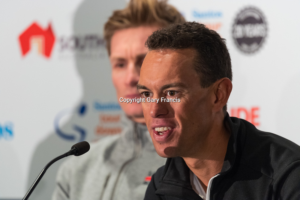 Andre Greipel (L) and Richie Porte at Media Conference for the Tour Down Under, Australia on the 13 of January 2018 ( Credit Image: © Gary Francis / ZUMA WIRE SERVICE )