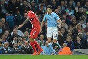 Manchester City midfielder Jesus Navas attacks during the Champions League Group D match between Manchester City and Sevilla at the Etihad Stadium, Manchester, England on 21 October 2015. Photo by Alan Franklin.