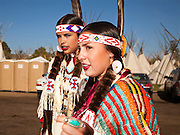 Confederated Tribes Princesses, in regalia preparing for the afternoon Indian Show at the Pendleton Roundup. The Pendleton RoundUp is the largest outdoor rodeo in the world,