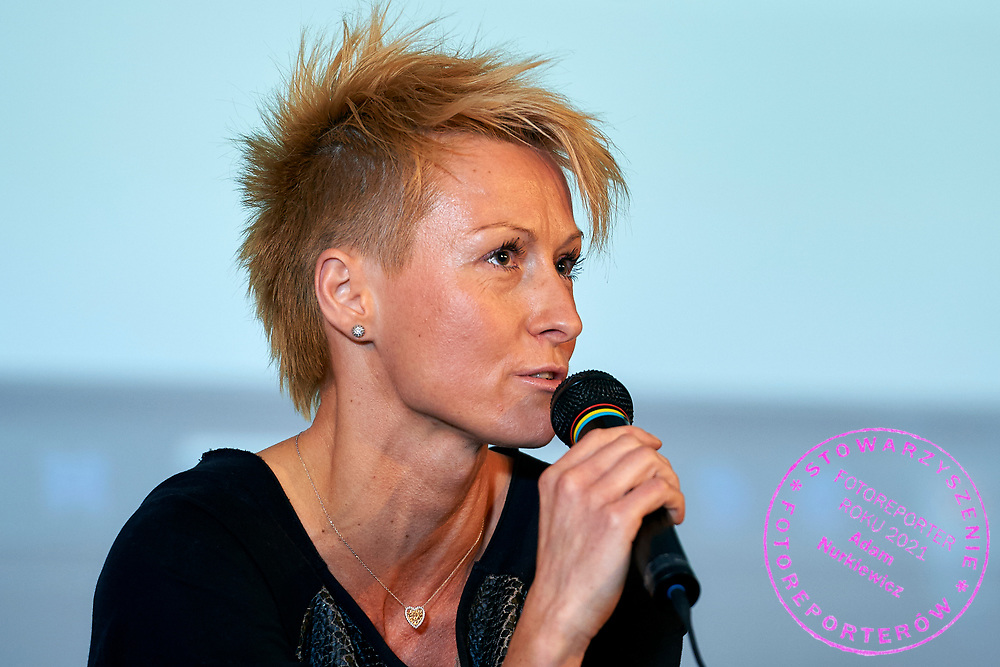 Warsaw, Poland - 2017 April 07: Kamila Nowowiejska - instructor and fitness coach speaks while The Day of Health - science conference in the National Library on April 07, 2017 in Warsaw, Poland.<br /> <br /> Mandatory credit:<br /> Photo by © © Adam Nurkiewicz / Mediasport / Mediasport<br /> <br /> Picture also available in RAW (NEF) or TIFF format on special request.<br /> <br /> Any editorial, commercial or promotional use requires written permission from the author of image.<br /> <br /> Adam Nurkiewicz declares that he has no rights to the image of people at the photographs of his authorship.