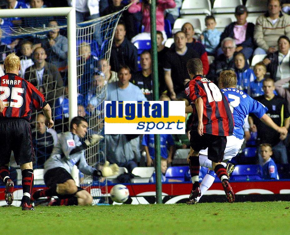 Photo: Dave Linney.<br />Birmingham City v Shrewsbury Town. Carling Cup. 22/08/2006.Birminghams Sebastian Larsson(7) slots home to give Blues the winner