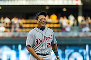 Miguel Cabrera #24 of the Detroit Tigers laughs during a game against the Minnesota Twins on September 29, 2012 at Target Field in Minneapolis, Minnesota.  The Tigers defeated the Twins 6 to 4.  Photo: Ben Krause
