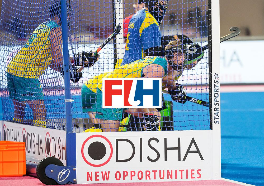 BHUBANESWAR - The Odisha Men's Hockey World League Final . Match ID 05 . Australian defenders in the goal during a penaltycorner .  WORLDSPORTPICS COPYRIGHT  KOEN SUYK