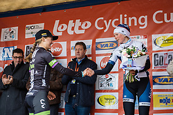 Second and third, Leah Kirchmann and Lotta Lepistö congratulate each other - 2016 Omloop van het Hageland - Tielt-Winge, a 129km road race starting and finishing in Tielt-Winge, on February 28, 2016 in Vlaams-Brabant, Belgium.