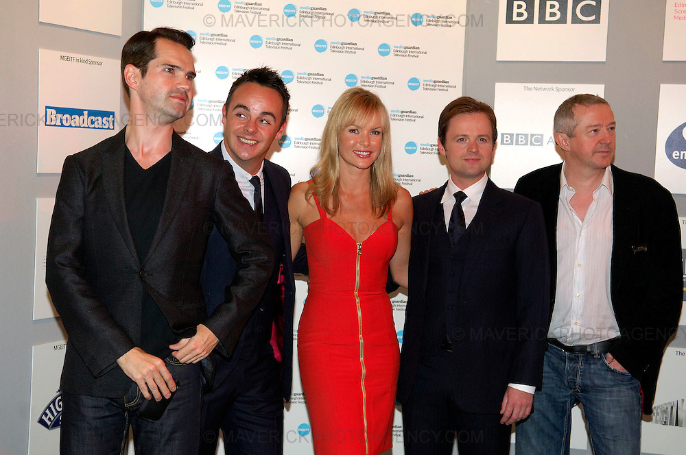 Britains Got Talent judges attend the Media Guardian Edinburgh International Television Festival at the Edinburgh International Conference Centre today...Picture shows from left Jimmy Carr with Britains Got Talent judges Decs, Amanda Holden, Ants and Loiue Walsh