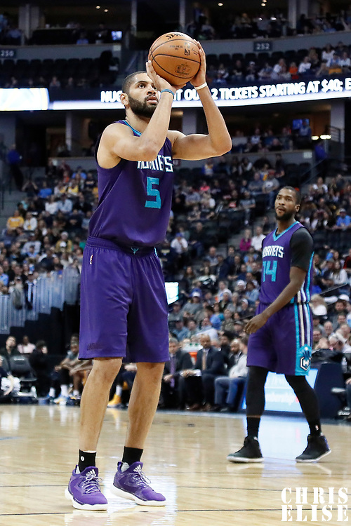 04 March 2017: Charlotte Hornets guard Nicolas Batum (5) is seen at the free throw line during the Charlotte Hornets 112-102 victory over the Denver Nuggets, at the Pepsi Center, Denver, Colorado, USA.