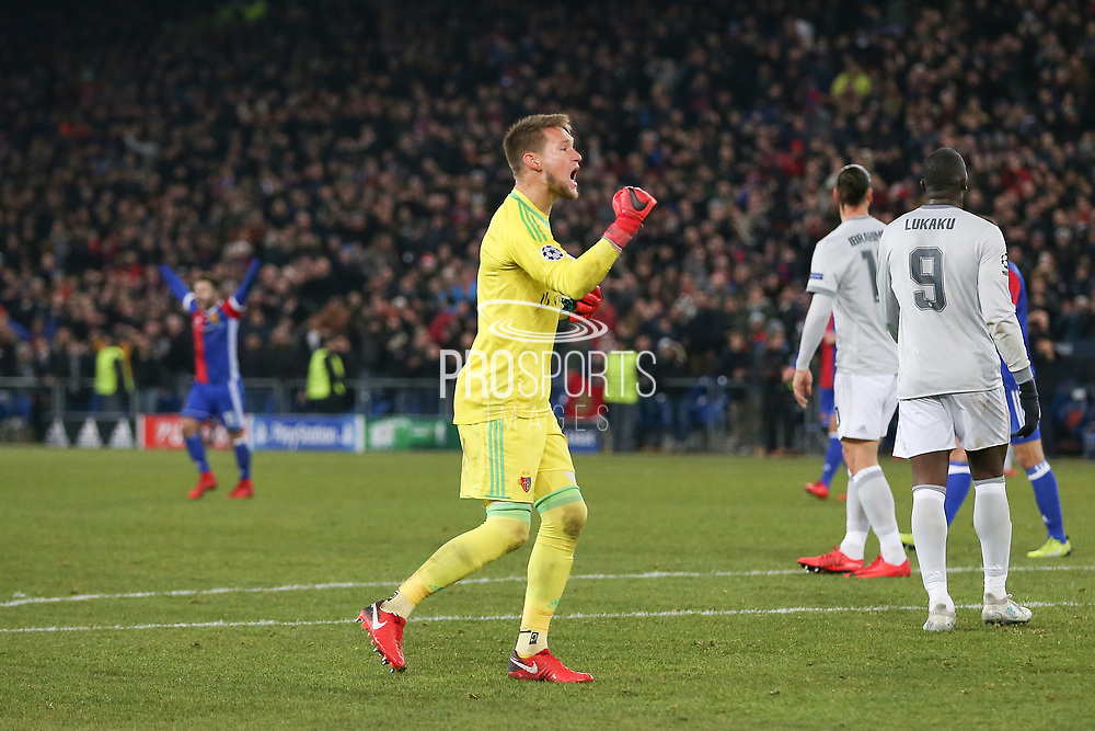 FC Basel Tomas Vaclik celebrates after the final whistle during the Champions League match between FC Basel and Manchester United at St Jacob-Park, Basel, Switzerland on 22 November 2017. Photo by Phil Duncan.