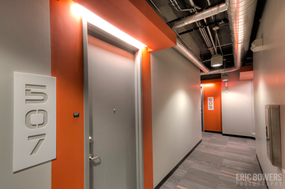 """Hallways in """"The Boss"""" building at Roaster's Block apartments after repurposing to residential use of the former Folger's Coffee Plant."""