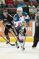 KELOWNA, CANADA - SEPTEMBER 5: Cole Linaker #26 of Kelowna Rockets skates against the Prince George Cougars on September 5, 2015 during the first pre-season game at Prospera Place in Kelowna, British Columbia, Canada.  (Photo by Marissa Baecker/Shoot the Breeze)  *** Local Caption *** Cole Linaker;