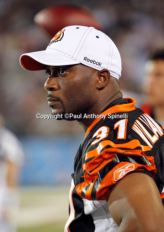 Cincinnati Bengals safety Roy Williams (31) looks on during the NFL Pro Football Hall of Fame preseason football game between the Dallas Cowboys and the Cincinnati Bengals on Sunday, August 8, 2010 in Canton, Ohio. The Cowboys won the game 16-7. (©Paul Anthony Spinelli)