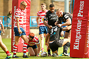Bradford Bulls hooker Scott Moore (34) goes over to score the second try and celebrates during the Kingstone Press Championship match between Oldham RLFC and Bradford Bulls at Bower Fold, Oldham, United Kingdom on 13 August 2017. Photo by Simon Davies.
