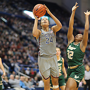 HARTFORD, CONNECTICUT- JANUARY 10: Napheesa Collier #24 of the Connecticut Huskies drives to the basket defended by Nancy Warioba #32 of the South Florida Bulls  during the the UConn Huskies Vs USF Bulls, NCAA Women's Basketball game on January 10th, 2017 at the XL Center, Hartford, Connecticut. (Photo by Tim Clayton/Corbis via Getty Images)