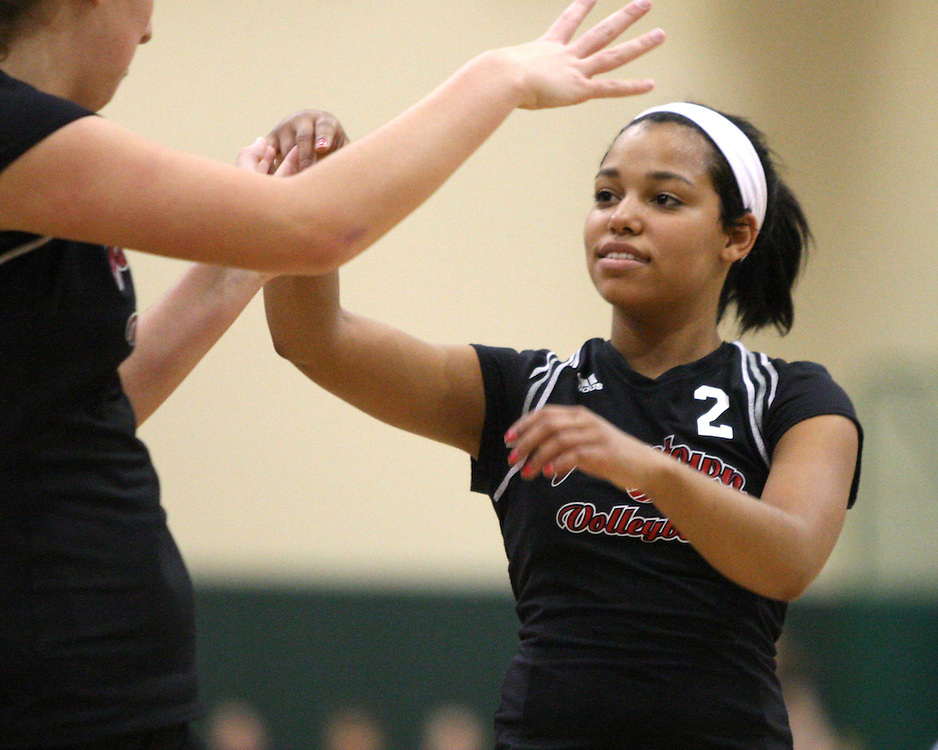Jamestown's Brittney Prunty celebrates a point against Southwestern with teams mates 9-26-09 photo by Mark L. Anderson