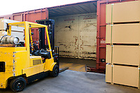 Fork Lift Truck loading industrial railway carriage