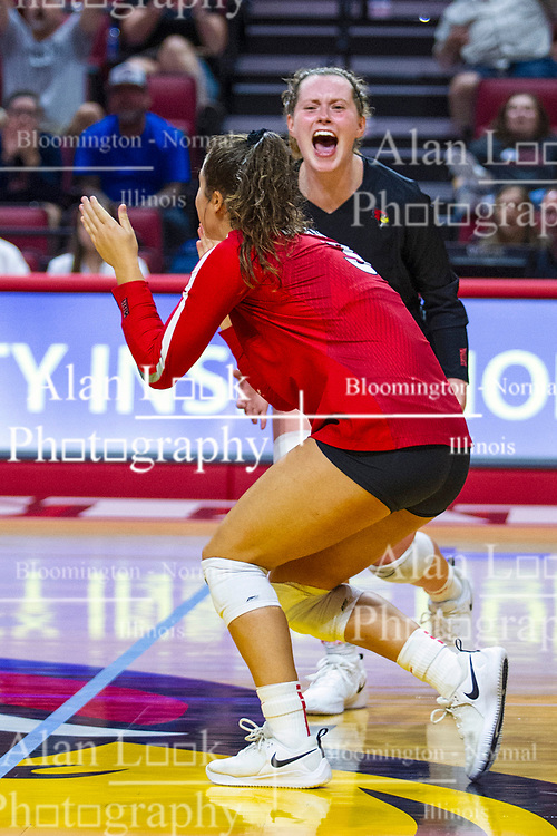 BLOOMINGTON, IL - September 14: Kendal Meier and Kaity Weimerskirch during a college Women's volleyball match between the ISU Redbirds and the University of Central Florida (UCF) Knights on September 14 2019 at Illinois State University in Normal, IL. (Photo by Alan Look)