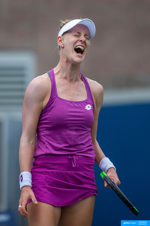 2019 US Open Tennis Tournament- Day Two.  Alison Riske of the United States reacts during her match against Garbine Muguruza of Spain in the Women's Singles Round One match on Grandstand Stadium at the 2019 US Open Tennis Tournament at the USTA Billie Jean King National Tennis Center on August 27th, 2019 in Flushing, Queens, New York City.  (Photo by Tim Clayton/Corbis via Getty Images))