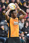 Hull City midfielder Moses Odubajo takes throw in during the Sky Bet Championship match between Hull City and Birmingham City at the KC Stadium, Kingston upon Hull, England on 24 October 2015. Photo by Ian Lyall.