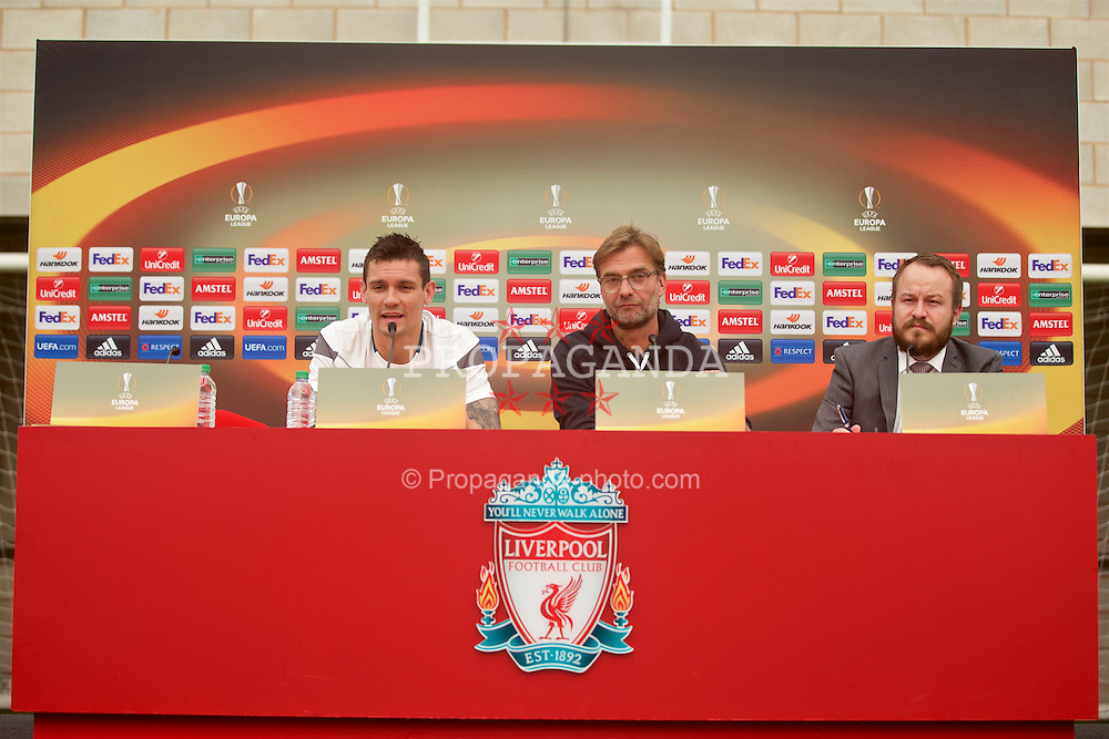 LIVERPOOL, ENGLAND - Wednesday, May 4, 2016: Liverpool's Dejan Lovren, manager Jürgen Klopp and press officer Matt McCann during a press conference at Melwood Training Ground ahead of the UEFA Europa League Semi-Final 2nd Leg match against Villarreal CF. (Pic by David Rawcliffe/Propaganda)