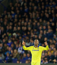 LEICESTER, ENGLAND - Wednesday, April 29, 2015: Chelsea's Didier Drogba celebrates scoring the first goal against Leicester City during the Premier League match at Filbert Way. (Pic by David Rawcliffe/Propaganda)