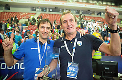Gregor Humerca and Metod Ropret of OZS celebrate at trophy ceremony after Slovenia placed 2nd after volleyball match between National teams of Slovenia and France at Final match of 2015 CEV Volleyball European Championship - Men, on October 18, 2015 in Arena Armeec, Sofia, Bulgaria. Photo by Vid Ponikvar / Sportida