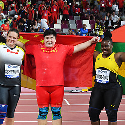 Doha, IAAF, Leichtathletik, athletics, Track and Field, World athletics Championships 2019  Doha, Leichtathletik WM 2019 Doha, 27.09-06.10.2019, .Khalifa International Stadium Doha, Kugelstossen Frauen, Christina Schwanitz  Deutschland, Gong Lijiao, Danniel Thomas -Dodd, Fotocopyright Gladys Chai von  der Laage ..Photo by Icon Sport - Gong LIJIAO - Christina SCHWANITZ - Danniel THOMAS-DODD - Khalifa International Stadium - Doha (Qatar)
