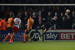 Wolves goalkeeper Carl Ikeme makes a save off a miss kick from Wolves midfielder Kevin McDonald   - Photo mandatory by-line: Mitchell Gunn/JMP - Tel: Mobile: 07966 386802 01/04/2014 - SPORT - FOOTBALL - Broadhall Way - Stevenage - Stevenage v Wolverhampton Wanderers - League One