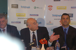 Chairman Peter Mallinger, Paul Gascoigne, Gazza, signs as New Kettering Town Manager at Rockingham Road 27th October 2005