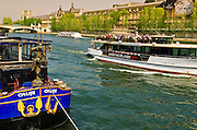 Tour boats on the Seine River, Paris, France