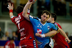 Uros Zorman of Slovenia vs Daniel Kubes of Czech republic  during the Men's Handball European Championship Main Round match between Slovenia and Czech republic at the Olympia Hall on January 24, 2009 in Innsbruck, Austria.  (Photo by Vid Ponikvar / Sportida) - on January 2010