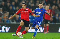 Cardiff Midfielder Peter Whittingham (ENG) and Watford Midfielder Mark Yeates (IRL) compete for the ball during the first half of the match - Photo mandatory by-line: Rogan Thomson/JMP - Tel: Mobile: 07966 386802 23/10/2012 - SPORT - FOOTBALL - Cardiff City Stadium - Cardiff. Cardiff City v Watford - Football League Championship