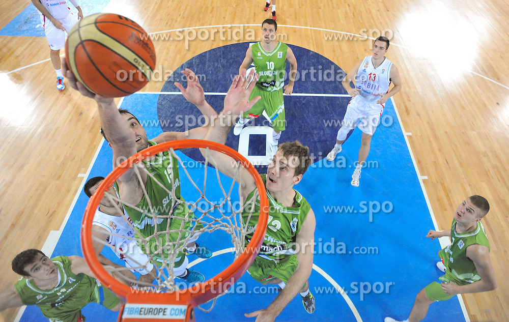 Mirza Begic of Slovenia and Zoran Dragic of Slovenia during basketball match between National teams of Serbia and Slovenia in 5th to 8th place game at Day 16 of Eurobasket 2013 on September 19, 2013 in Arena Stozice, Ljubljana, Slovenia. (Photo by Vid Ponikvar / Sportida.com)
