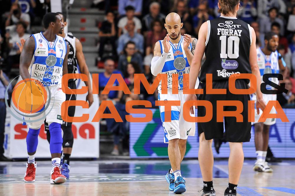 DESCRIZIONE : Campionato 2014/15 Dinamo Banco di Sardegna Sassari - Dolomiti Energia Aquila Trento Playoff Quarti di Finale Gara3<br /> GIOCATORE : David Logan<br /> CATEGORIA : Ritratto Esultanza<br /> SQUADRA : Dinamo Banco di Sardegna Sassari<br /> EVENTO : LegaBasket Serie A Beko 2014/2015 Playoff Quarti di Finale Gara3<br /> GARA : Dinamo Banco di Sardegna Sassari - Dolomiti Energia Aquila Trento Gara3<br /> DATA : 22/05/2015<br /> SPORT : Pallacanestro <br /> AUTORE : Agenzia Ciamillo-Castoria/L.Canu