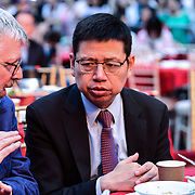 Honourable  Chinese Minister Counsellor , Consular and Overseas Chinese Affairs Mr. Tong Xuejun (童学军) Tim Michelle  attend the Celebration of the Moon festival - The big feast for the chinese community and the 70th Anniversary of China at Chinatown Square on the 15th September 2019, London, UK.