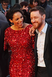 Actors Rosario Dawson and James  McAvoy, share a joke as they arrive for the Premiere of  their new film 'Trance' in London's Leicester Square, UK, Tuesday March 19, 2013. Photo by Max Nash / i-Images...